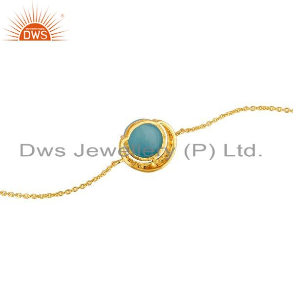 Suppliers 18K Gold Plated Sterling Silver Blue Chalcedony And CZ Chain Bracelet