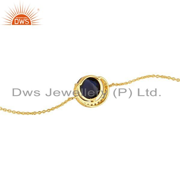 Suppliers 18K Gold Plated Sterling Silver Blue Corundum And CZ Designer Chain Bracelet