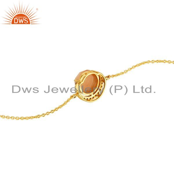 Suppliers Peach Moonstone And CZ Designer Bracelet In 18K Gold Over Sterling Silver Jewelr