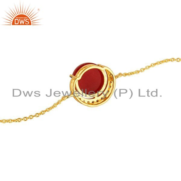 Suppliers 18K Yellow Gold Plated Sterling Silver Red Aventurine And CZ Chain Bracelet