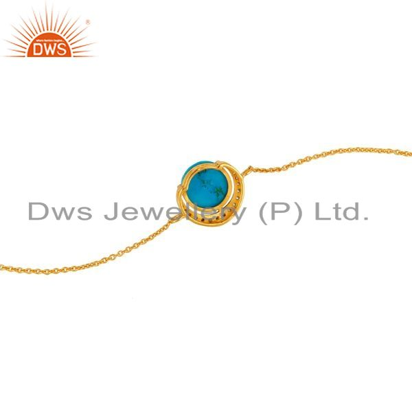 Suppliers 18K Gold Plated Sterling Silver Turquoise And CZ Half Moon Charms Bracelet