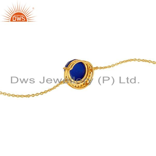 Suppliers 18K Gold Plated Sterling Silver Blue Aventurine And CZ Half Moon Charms Bracelet