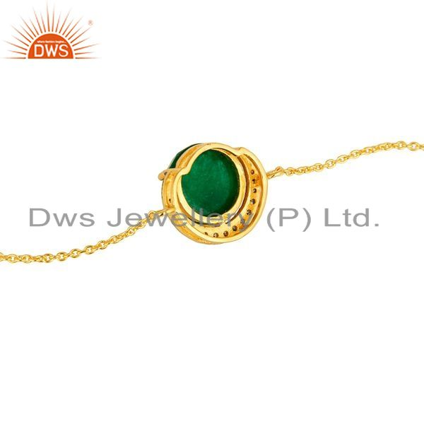 Suppliers 18K Yellow Gold Plated Sterling Silver Green Aventurine And CZ Chain Bracelet