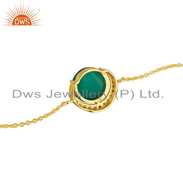 Suppliers 18K Gold Plated Sterling Silver Green Onyx And Cubic Zirconia Bracelet