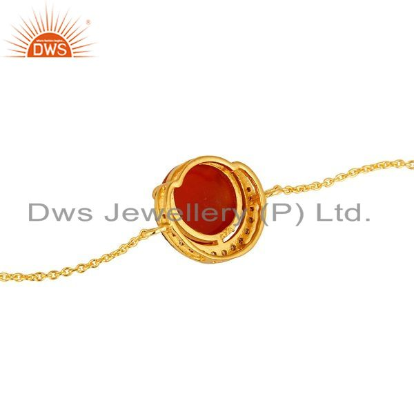 Suppliers Red Onyx And Cubic Zirconia Fashion Bracelet In 18K Gold Over Sterling Silver