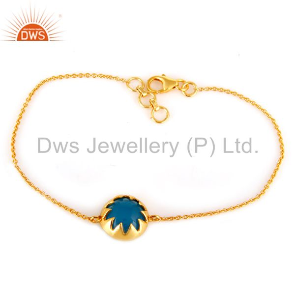 Suppliers 18K Gold Plated Sterling Silver Blue Chalcedony Gemstone Bracelet