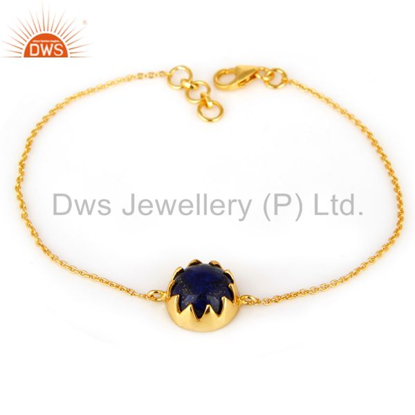 Suppliers 18K Yellow Gold Plated Sterling Silver Lapis Lazuli Gemstone Chain Bracelet