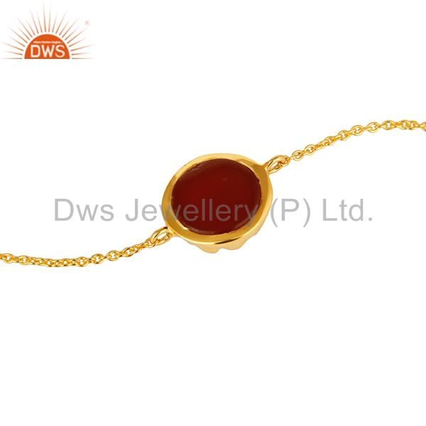 Suppliers 18K Gold Plated Sterling Silver Red Onyx Gemstone Chain Bracelet With Lobster