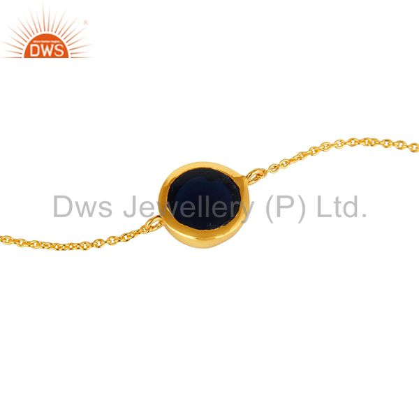 Suppliers 18K Yellow Gold Plated Sterling Silver Blue Corundum Gemstone Bracelet With Chai