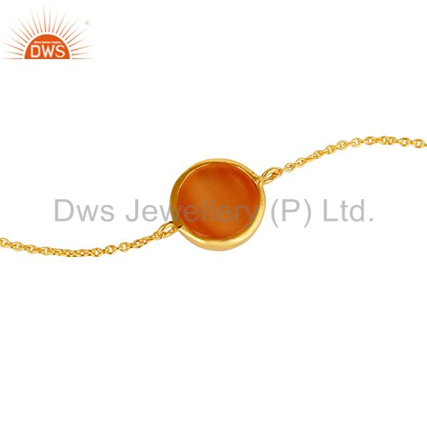 Suppliers 18K Yellow Gold Plated Sterling Silver Peach Moonstone Gemstone Chain Bracelet