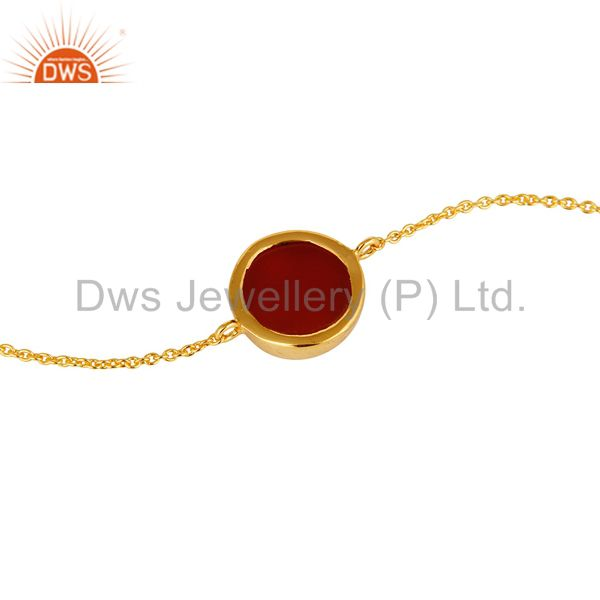 Suppliers Shiny 14K Yellow Gold Plated Sterling Silver Red Onyx Gemstone Chain Bracelet
