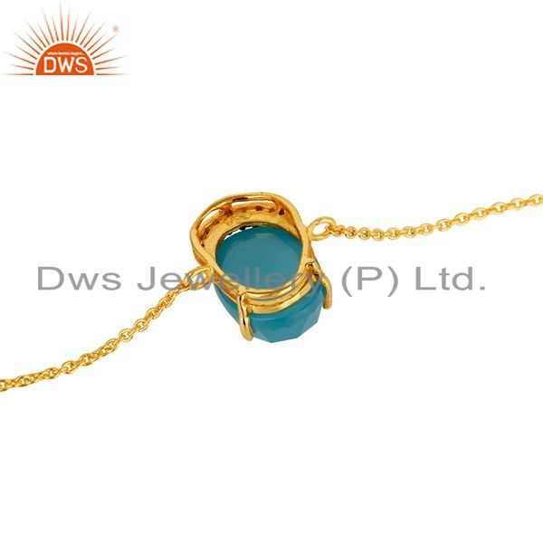 Suppliers 18K Yellow Gold Plated Sterling Silver Aqua Blue Chalcedony Chain Bracelet