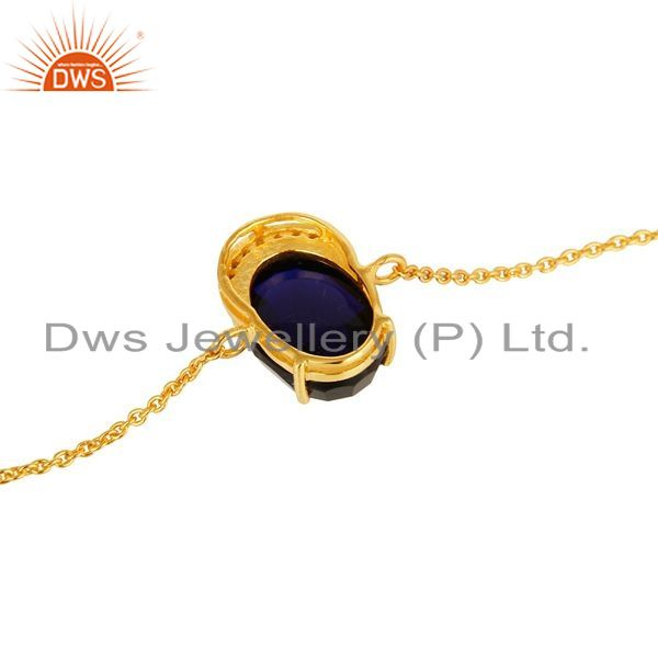 Suppliers 18K Yellow Gold Plated Sterling Silver Blue Corundum And CZ Chain Bracelet