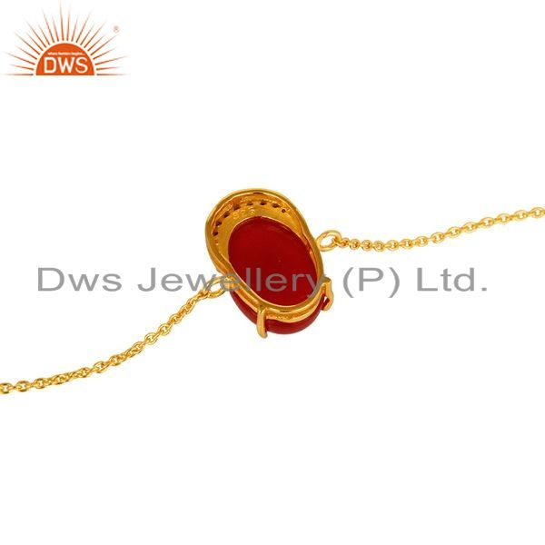 Suppliers 18K Yellow Gold Plated Sterling Silver Red Aventurine Fashion Bracelet With CZ