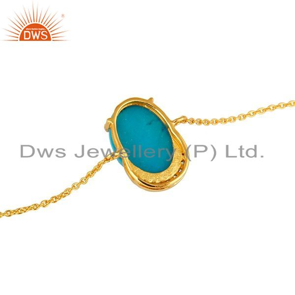 Suppliers 18K Yellow Gold Plated Sterling Silver Turquoise Prong Set Bracelet With CZ