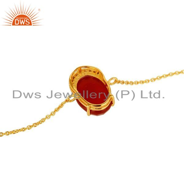 Suppliers 18K Gold Plated Sterling Silver Red Onyx Gemstone Chain Bracelet With CZ