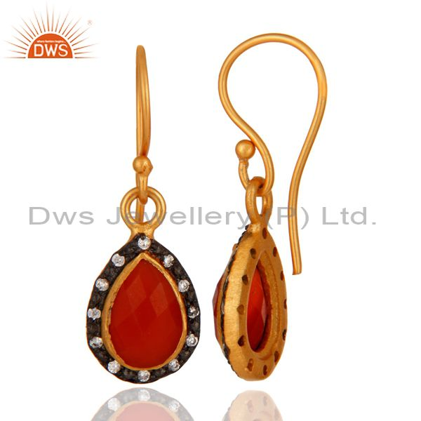 Suppliers Handmade Natural Red Onyx Gemstone & White Zircon 22K Gold Plated Hook Earring