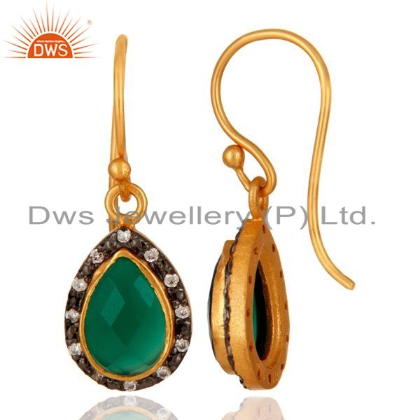Suppliers 925 Sterling Silver Green Onyx Gemstone 22K Gold Plated Earring With CZ