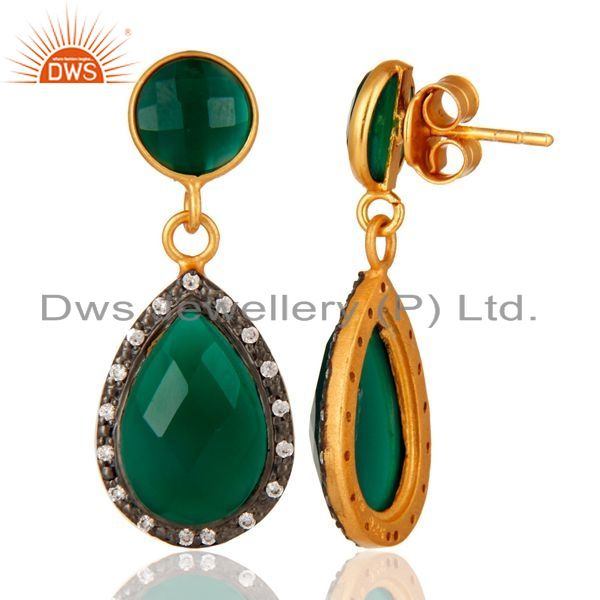 Suppliers 18K Gold Plated Sterling Silver Green Onyx Faceted Drops Earrings With CZ