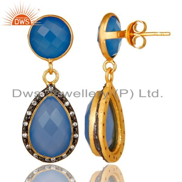 Suppliers 18K Yellow Gold Plated Sterling Silver Blue Chalcedony Drop Earrings With CZ
