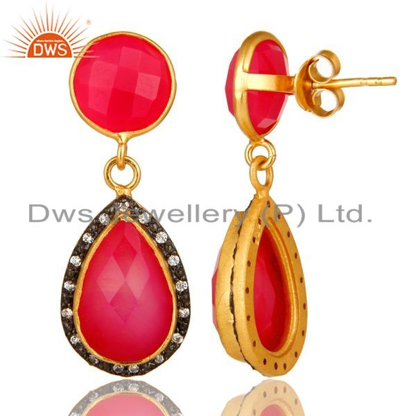 Suppliers 18K Yellow Gold Plated Sterling Silver Pink Chalcedony Drop Earrings With CZ