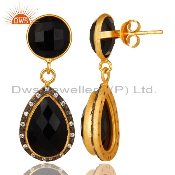 Suppliers 18K Yellow Gold Plated Sterling Silver Black Onyx Drop Earrings With CZ