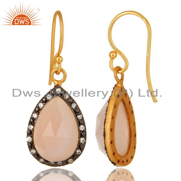 Suppliers 18K Yellow Gold Plated Sterling Silver Rose Chalcedony Drop Earrings With CZ
