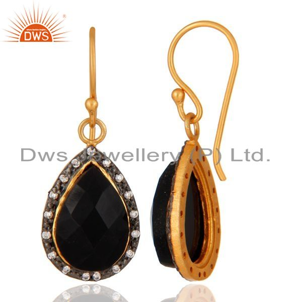 Suppliers Gold Plated 925 Sterling Silver Faceted Black Onyx Gemstone Drop Earring With CZ