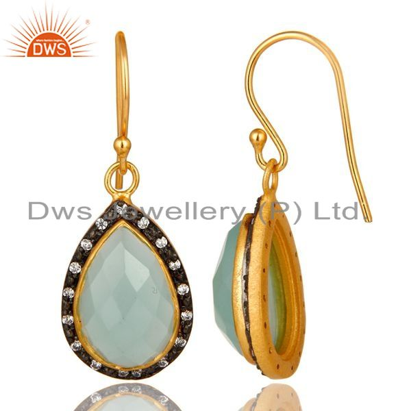 Suppliers 18K Yellow Gold Plated Sterling Silver CZ And Aqua Chalcedony Glass Drop Earring