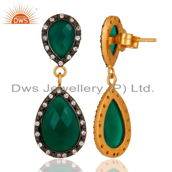 Suppliers Solid 925 Sterling Silver Gold Plated Green Onyx Beautiful Drop Dangle Earring