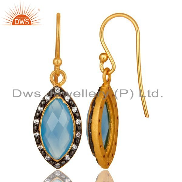 Suppliers 18K Yellow Gold Plated Sterling Silver Blue Chalcedony Dangle Earrings With CZ