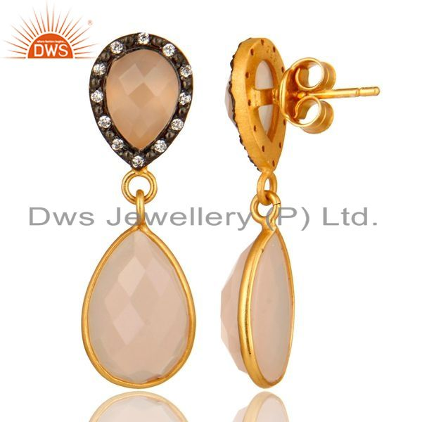 Suppliers 14K Yellow Gold Plated Sterling Silver Rose Chalcedony And CZ Drop Earrings