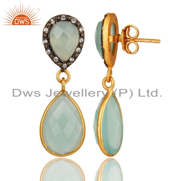 Suppliers Dyed Aqua Blue Chalcedony Gemstone Sterling Silver Dangle Earrings With CZ