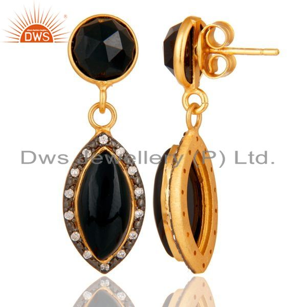 Suppliers Natural Black Onyx Gold Plated 925 Solid Silver Dangle Earrings With White CZ
