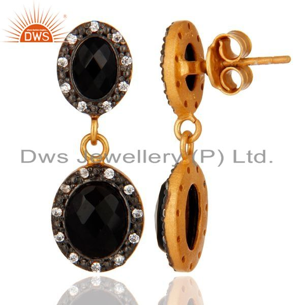 Suppliers Designer 24k Gold Plated Sterling Silver CZ & Black Onyx Dangle Earrings