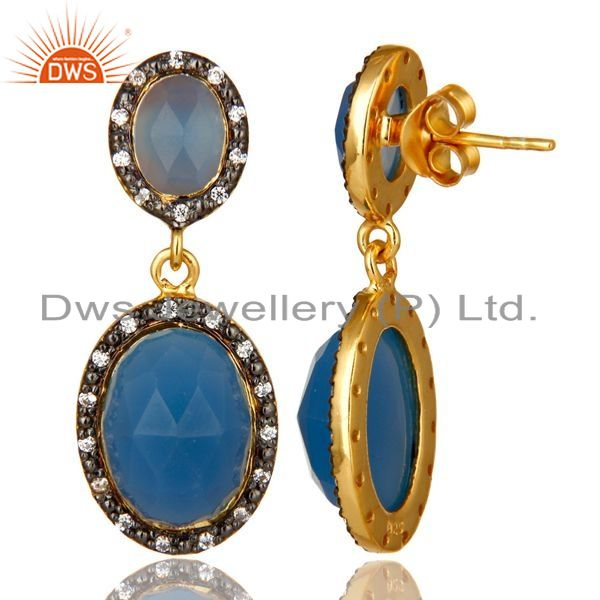 Suppliers 18K Yellow Gold Plated Sterling Silver Blue Chalcedony And CZ Dangle Earrings