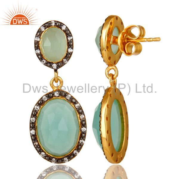 Suppliers 18K Yellow Gold Plated Sterling Silver Aqua Chalcedony And CZ Dangle Earrings