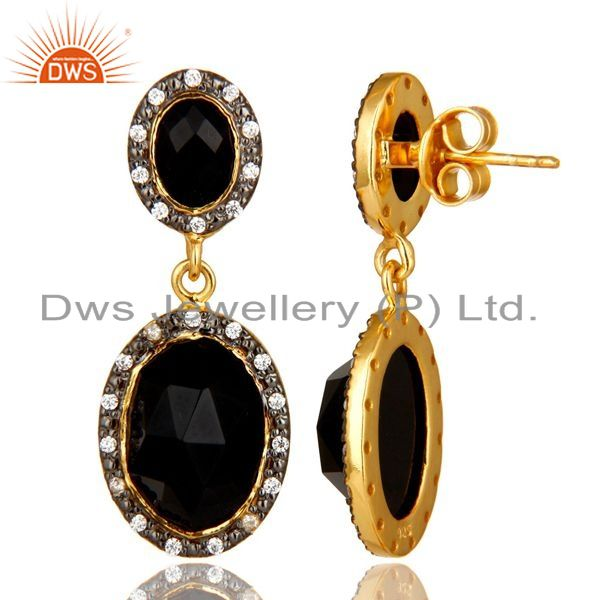Suppliers 18K Yellow Gold Plated Sterling Silver Black Onyx And CZ Double Dangle Earrings