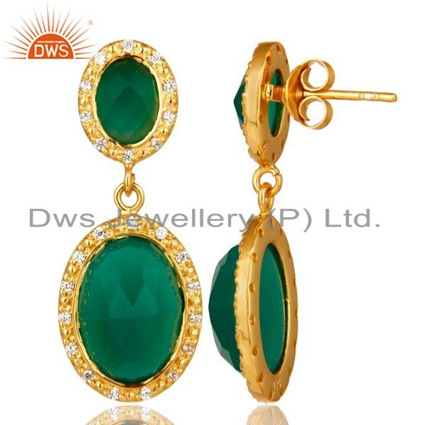 Suppliers Shiny 18K Yellow Gold Plated Sterling Silver Green Onyx Drop Earrings With CZ
