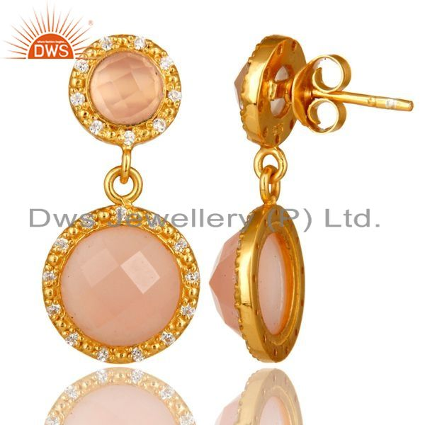 Suppliers Shiny 18K Yellow Gold Plated Sterling Silver CZ And Rose Chalcedony Drop Earring