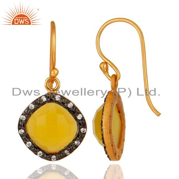 Suppliers 925 Sterling Silver With 18k Gold Plating Moonstone Cushion Shape Dangle Earring