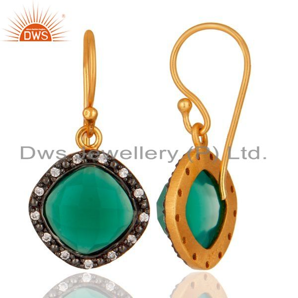 Suppliers 24K Gold Plated Over 925 Sterling Silver Green Onyx Gemstone Earring With CZ