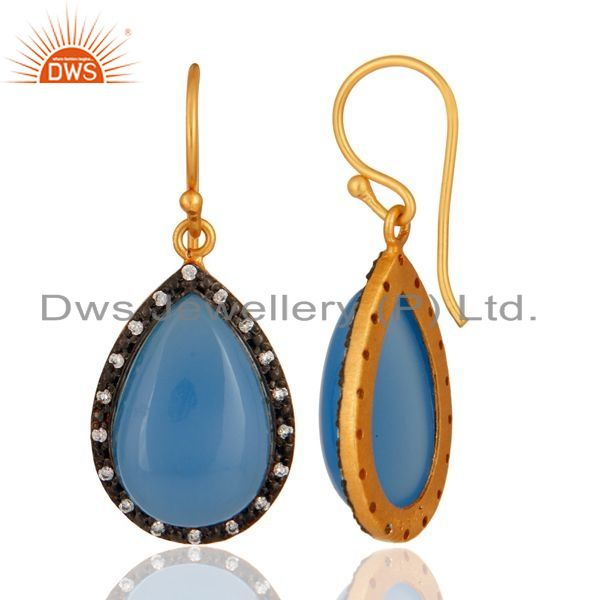 Suppliers 925 Sterling Silver Natural Blue Chalcedony Cabochon Gemstone Earrings With CZ