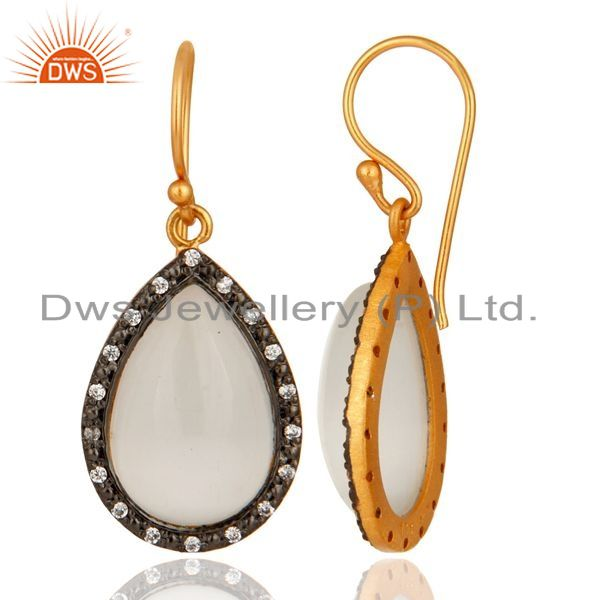 Suppliers 18K Yellow Gold Plated Sterling Silver White Moonstone & Cubic Zirconia Earrings