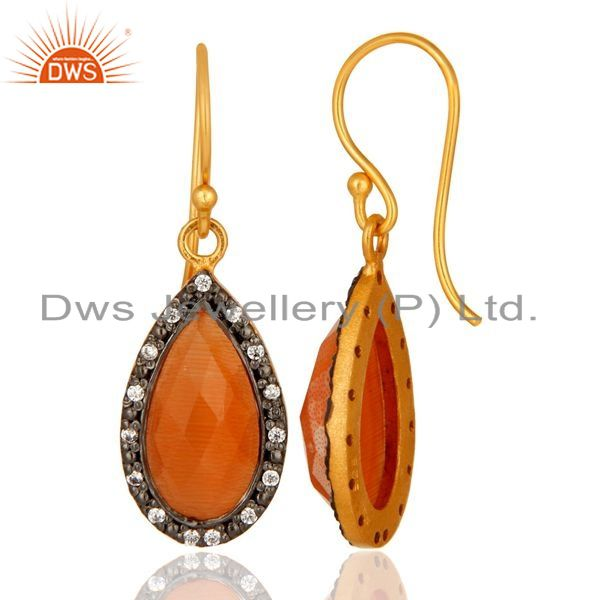 Suppliers Faceted Peach Moonstone Teardrop Earrings With CZ In 18K Gold On Sterling Silver