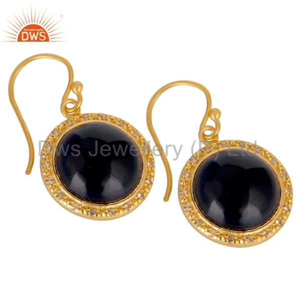 Suppliers 18K Gold Plated 925 Sterling Silver Blue Corrundum & White Topaz Drops Earrings