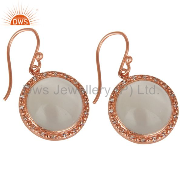 Suppliers 18K Rose Gold Plated 925 Sterling Silver Moonstone & White Topaz Drops Earrings