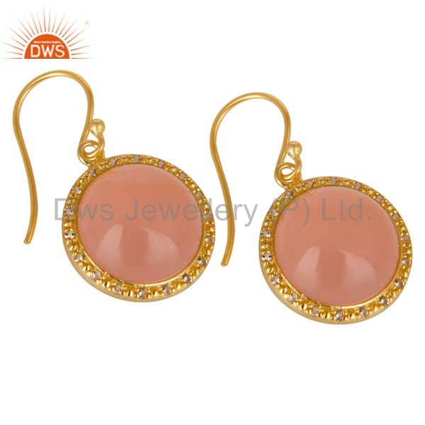 Suppliers 18K Gold Plated 925 Sterling Silver Dyed Chalcedony & White Topaz Drops Earring