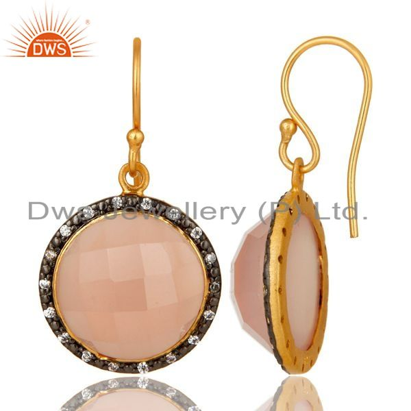 Suppliers 18K Yellow Gold Plated Sterling Silver Rose Chalcedony Dangle Earrings With CZ
