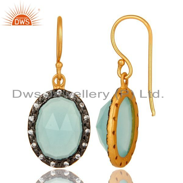 Suppliers 18K Gold Plated Sterling Silver Aqua Chalcedony Dangle CZ Earrings